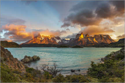 Premium poster  Summits of Torres del Paine, Patagonia, Chile - Dieter Meyrl