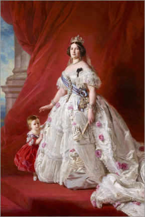 Gallery print  Isabel II with daughter Isabel, princess of Asturias - Franz Xaver Winterhalter