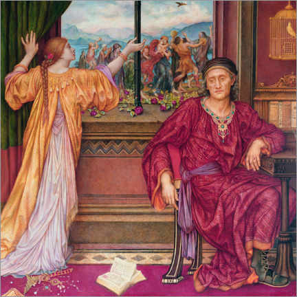 Wood print  The gilded cage - Evelyn De Morgan