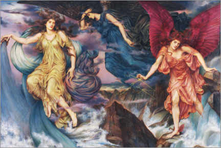 Wall sticker  The storm spirits - Evelyn De Morgan