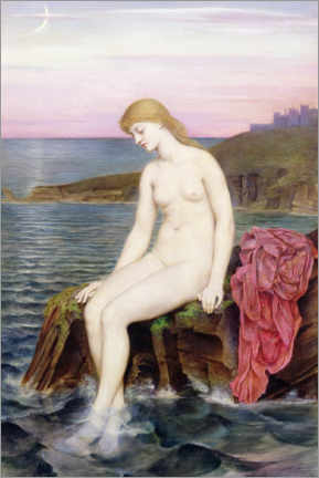 Aluminium print  Little mermaid - Evelyn De Morgan