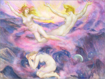 Premium poster  Night and dawn - Evelyn De Morgan