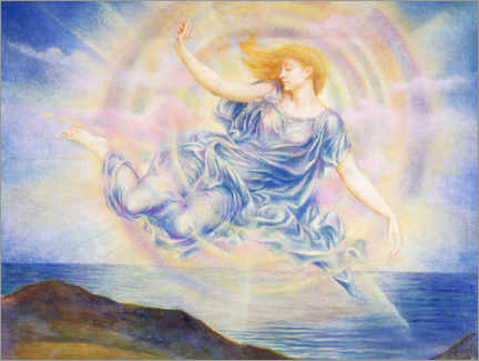 Wood print  Evening star over the sea - Evelyn De Morgan