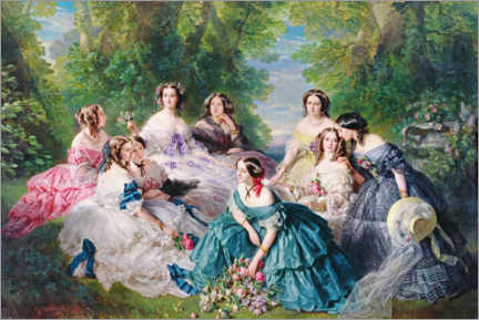 Foam board print  Empress Eugenie surrounded by her court ladies - Franz Xaver Winterhalter