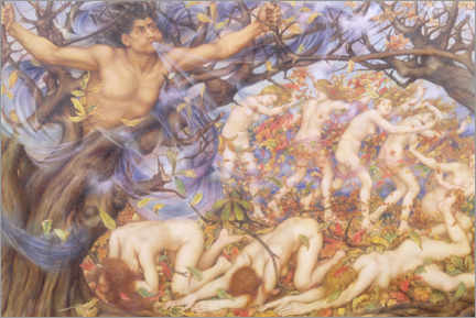 Canvas print  Boreas and fallen leaves - Evelyn De Morgan