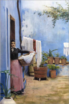 Canvas print  The blue courtyard - Santiago Rusinol y Prats