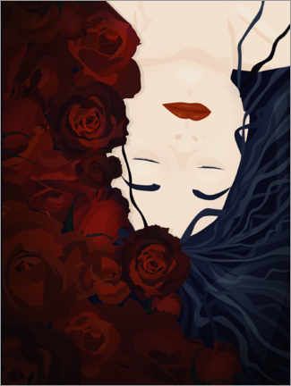 Premium poster Sleeping with roses