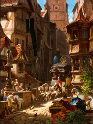 Gallery print  Arrival of the stagecoach - Carl Spitzweg