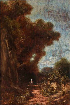 Foam board print  Landscape with woman and child under tall trees - Carl Spitzweg
