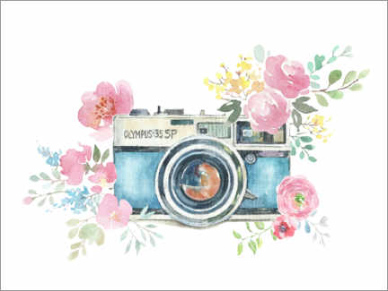 Premium poster  Vintage camera with flowers - Kidz Collection