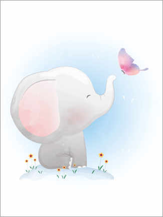 Premium poster Elephant and Butterfly