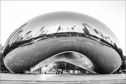 Premium poster  Chicago Cloud Gate, black and white - HADYPHOTO