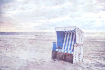 Aluminium print  Blue beach chair - Claudia Moeckel