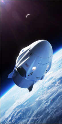 Foam board print  SpaceX crew dragon in orbit - Spacex