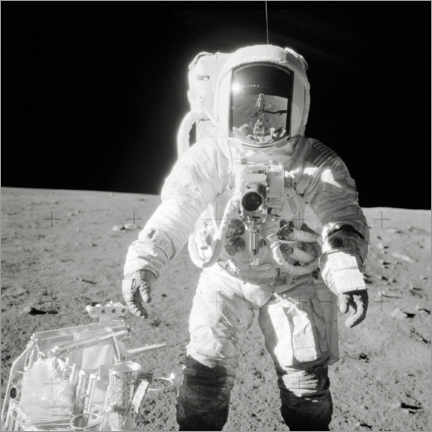 Aluminium print  Apollo 12 astronaut bean on the moon - NASA