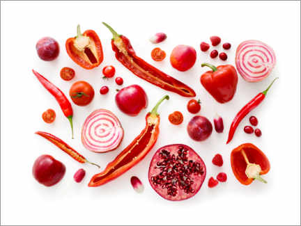 Acrylic print  Fresh red fruits and vegetables