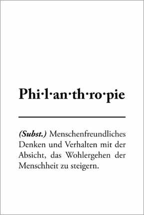 Premium poster Philanthropy - definition (German)