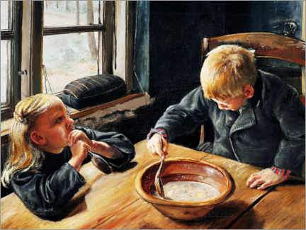 Wood print  A boy and a girl eating supper - Laurits Andersen Ring