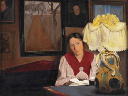 Wall sticker  Wife of the artist by lamp light - Laurits Andersen Ring