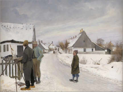 Aluminium print  The painter in the village - Laurits Andersen Ring
