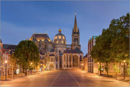 Premium poster Aachen Cathedral in the evening