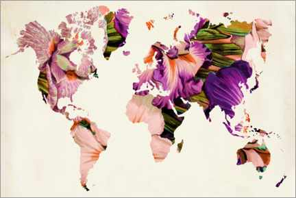 Gallery print  Floral world map - Mandy Reinmuth
