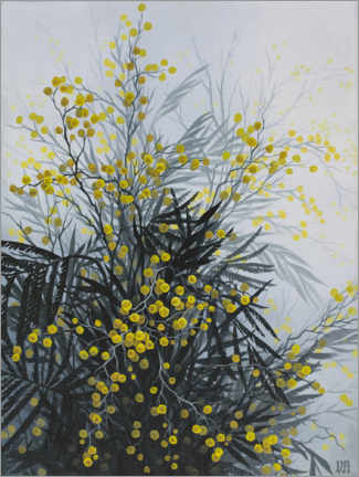 Wood print  Golden Wattle - Vasilisa Romanenko