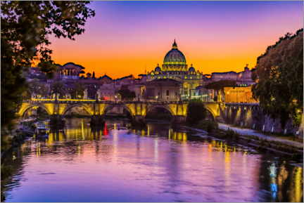 Premium poster Angel Bridge and St. Peter's Basilica after sunset