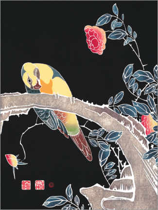 Premium poster  Parrot on the branch of a blooming rose - Itô Jakuchu