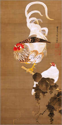 Premium poster  Hen and rooster with grapevine - Itô Jakuchu
