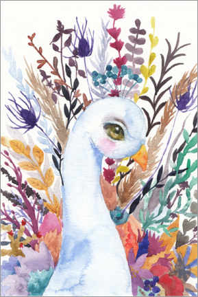Canvas print  Peacock with flowers - Daria NovArt