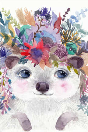 Gallery print  Hedgehog with Flowers - Daria NovArt