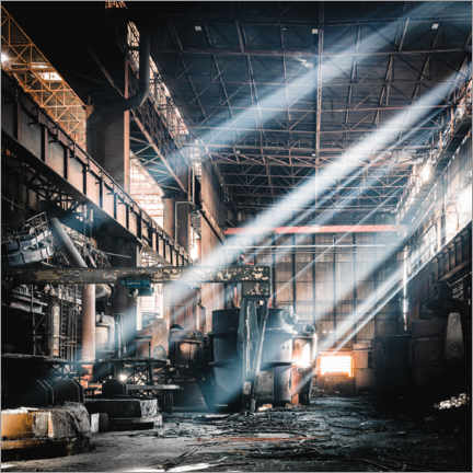 Acrylic print  Rays of light inside an abandoned steel mill - Irnmonkey