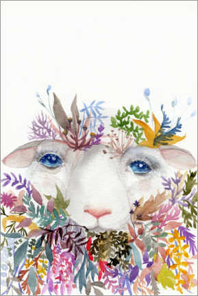 Gallery print  Sheep with flowers - Daria NovArt