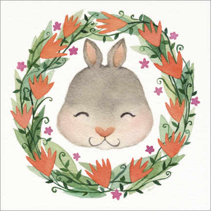 Gallery print  Baby bunny garland - Michelle Beech