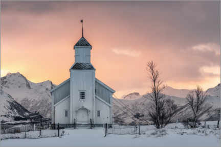 Aluminium print  Church for winter morning - André Wandrei