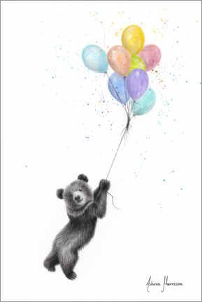 Premium poster Little bear with balloons