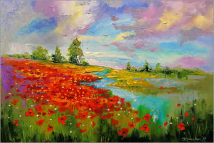 Premium poster  Poppy field by the lake - Olha Darchuk
