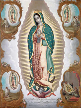 Gallery print  Virgin of Guadalupe with the four apparitions - Nicolas Enriquez