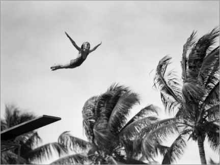 Premium poster  Young girl diving with palm trees