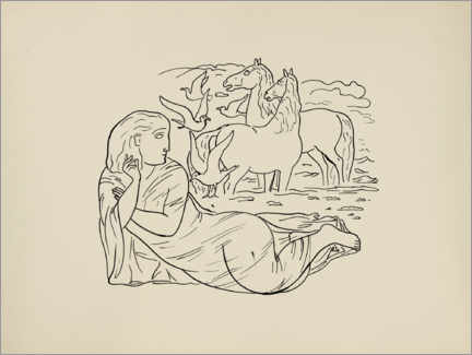 Gallery print  Woman lying on the beach with horses and seagulls - Leo Gestel