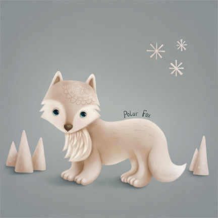 Wall sticker Little polar fox