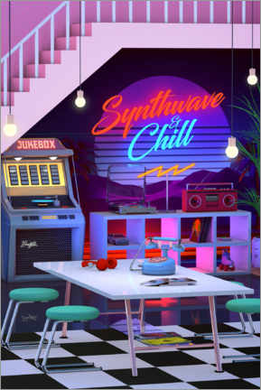 Aluminium print  Synthwave And Chill - Denny Busyet