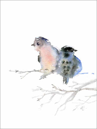 Aluminium print  Two birds keep each other warm - Verbrugge Watercolor