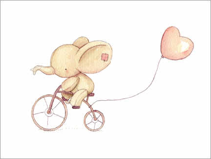 Premium poster Cute Elephant riding his bike