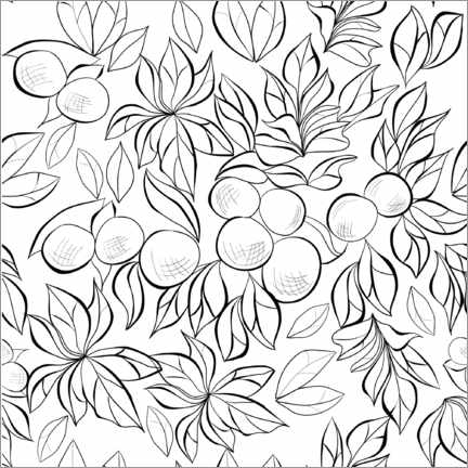 Colouring poster  Berry bushes