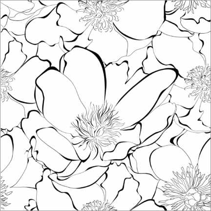 Colouring poster Sea of flowers