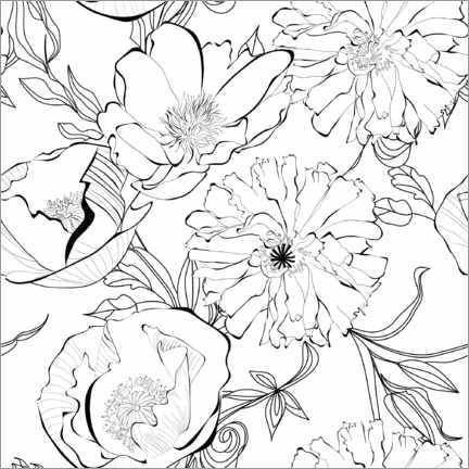 Colouring poster Cornflowers and poppies