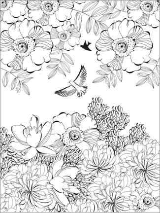 Colouring poster  Flower thicket