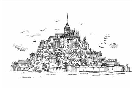 Colouring poster  Le Mont-Saint-Michel